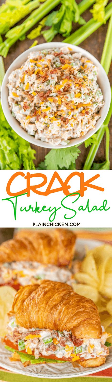 collage of 2 photos of turkey salad