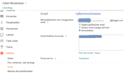 Cara setting Setelan Blogger menu Email