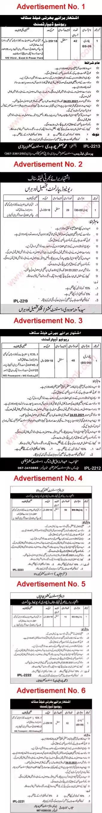 Latest Jobs in Pakistan Revenue Department Punjab Jobs 2021