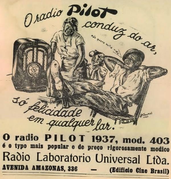 Propaganda de 1937 do Rádio Pilot apresentando momentos de descontração e entretenimento no lar