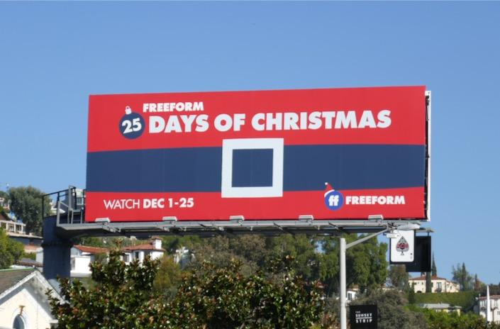 25 Days Christmas Freeform Santas belt billboard