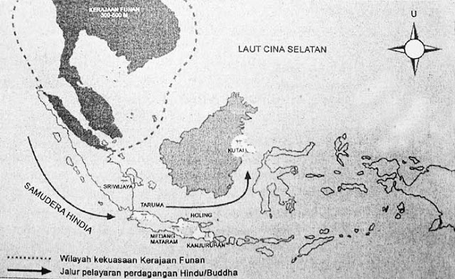 Map of the route of entrance and spread of Hindu Buddhist religion and culture in Indonesia