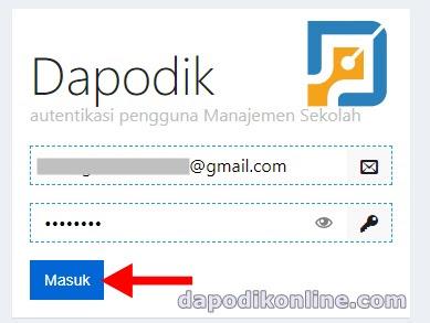 Masukkan Akun Dapodik Operator Sekolah dan Passwordnya, kemudian klik Masuk