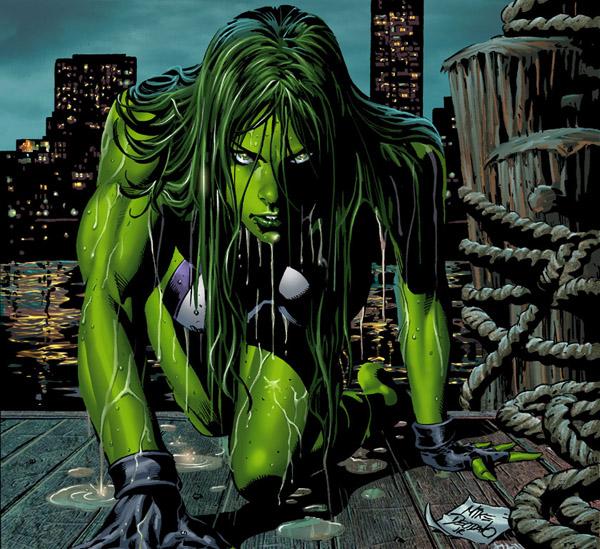 Eroine dei fumetti sexy con i capelli verdi