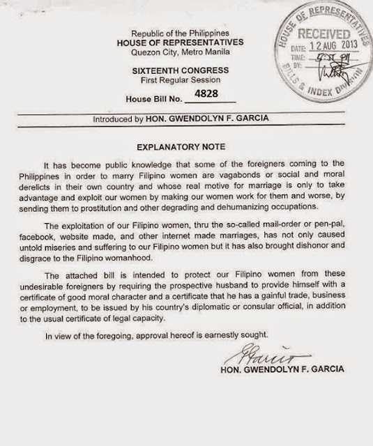 Philippines government notice to sexpats.
