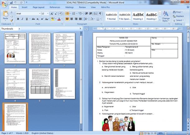 Soal PAS SD Kelas 4 Semester 2 Kurikulum 2013 Revisi Dilengkapi Kunci Jawaban