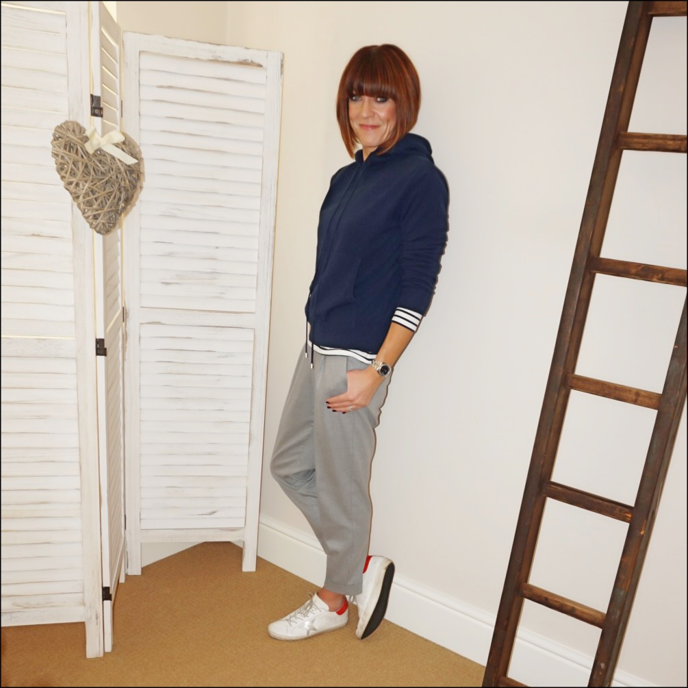my midlife fashion, marks and spencer pure cashmere hoodie jumper, the white company breton long sleeve top, mango grey pleated trousers, golden goose superstar low top leather trainers