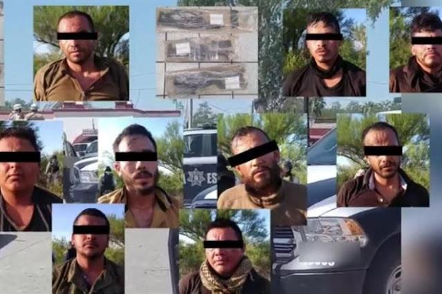 Policías bien bravos pero con Sicarios rivales de plaza 9 pistoleros son capturados en Magdalena de Kino con AR-15 y Cuernos de Chivo