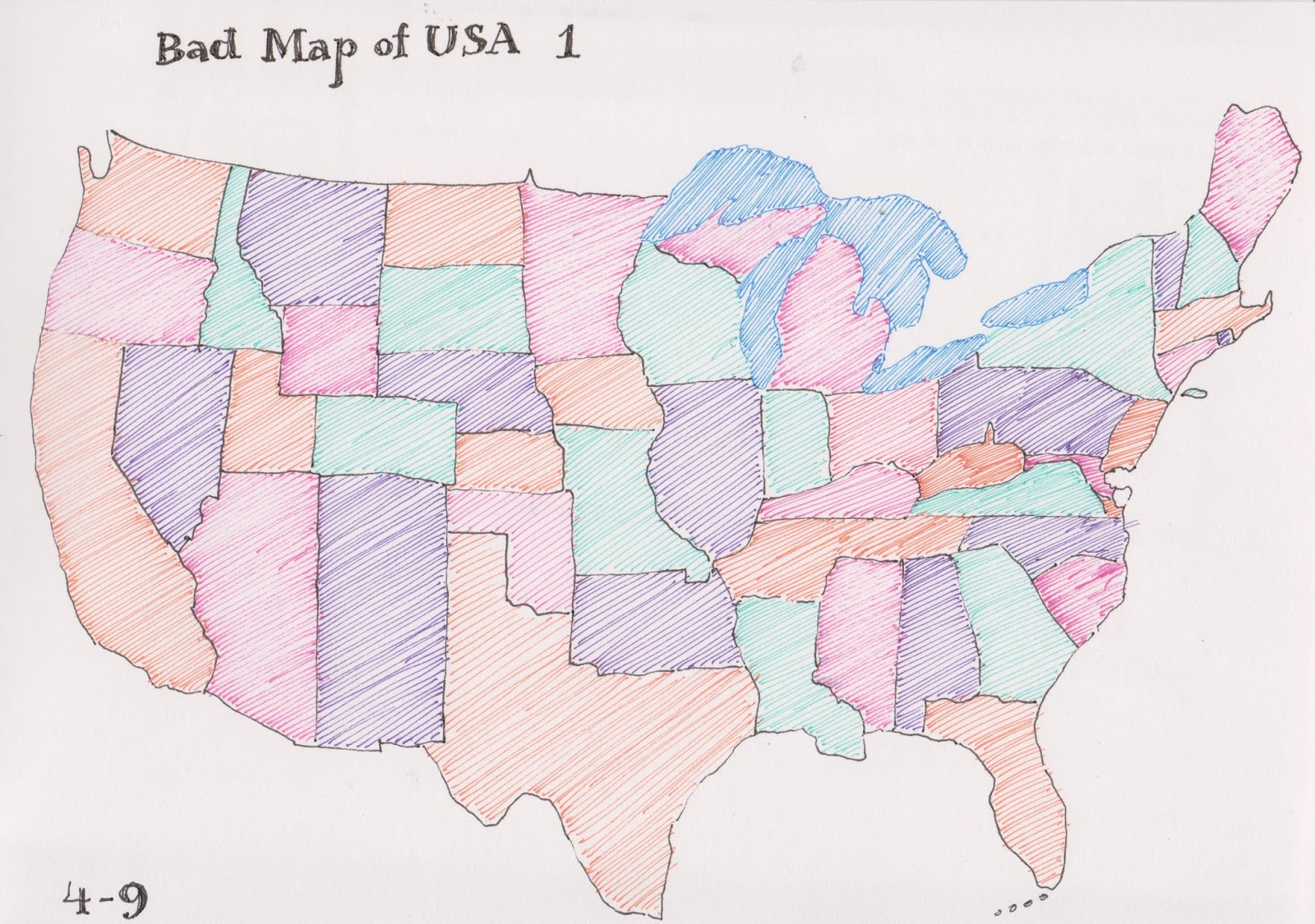 the outer perimeter of the map turned out pretty accurate especially the great lakes but when i started filling in the states i ran into difficulties