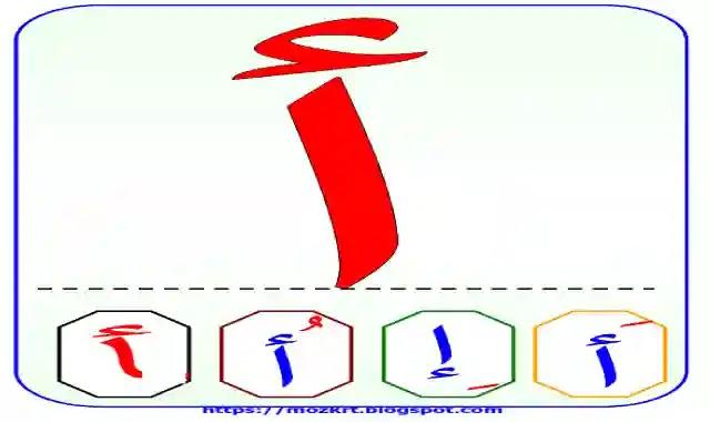 مذكرة الحروف الابجدية العربية مكبرة مع بيان حركات التتشكيل عليها لمرحلة كى جى