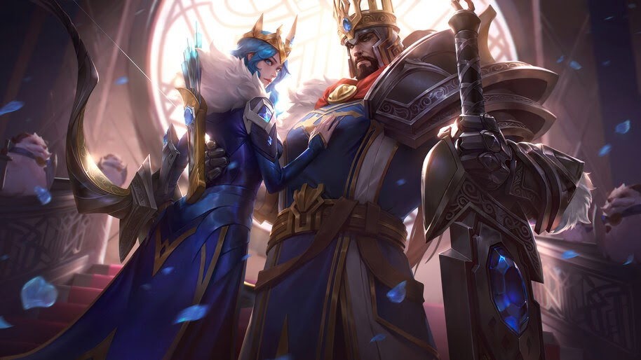 LoL, Wild Rift, King, Tryndamere, Queen, Ashe, Skin, Splash, Art, 4K, #5.2016