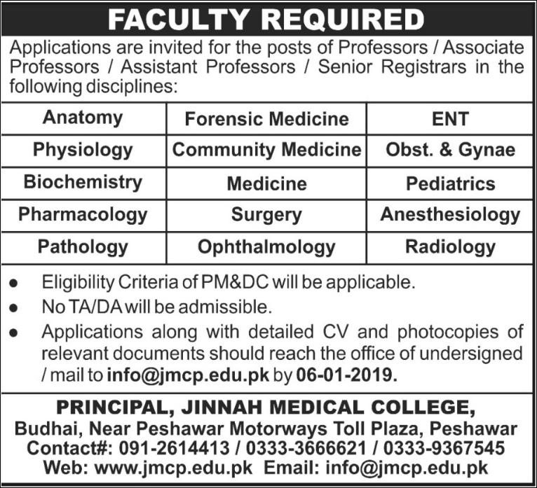 Advertisement for Jinnah Medical College Peshawar Jobs