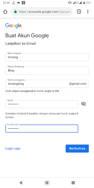 Langkah kedua mendaftar akun Google