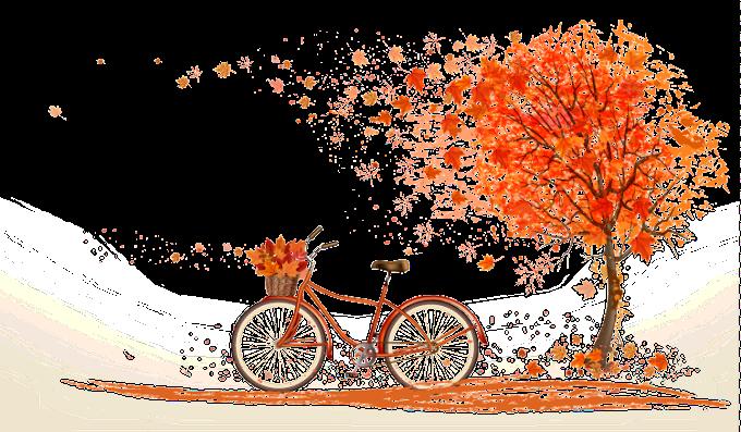 Ilustración de árbol de color de hoja otoñal, bicicleta naranja de otoño debajo de ilustración de arce, árbol de arce y bicicleta, arce, hoja png by: pngkh.com