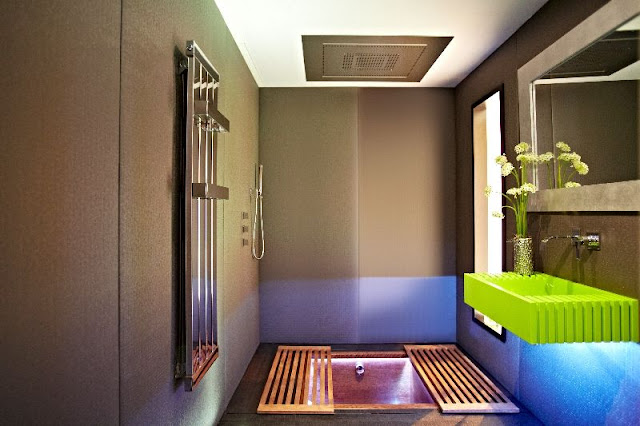 Floor Plan Of Modern Central Common Bathroom In Kerala House Design