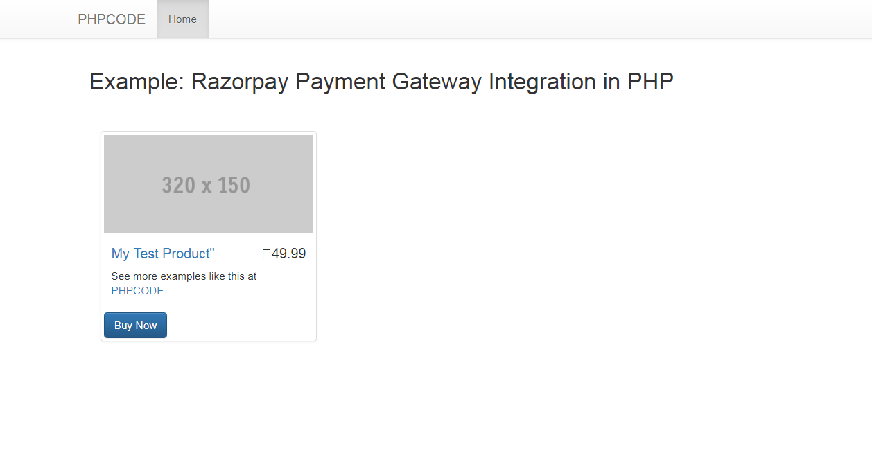 CODE Razorpay Payment Gateway Integration in PHP