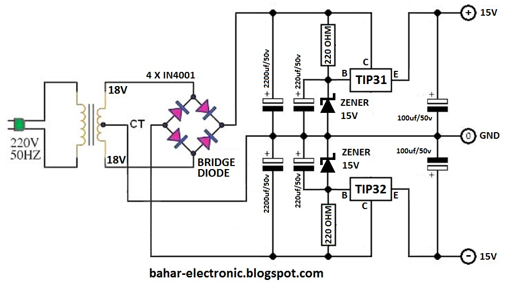 bahar electronic  power supply simetris 15v pakai