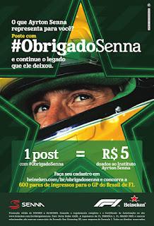Promoção Mostre Seu Obrigado ao Senna