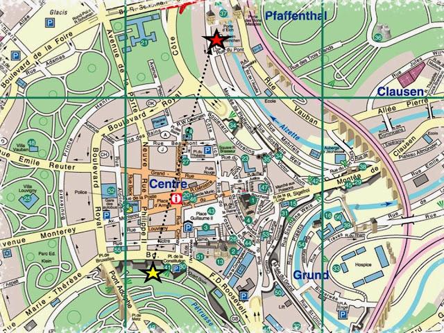 Mapa do centro da cidade de Luxemburgo