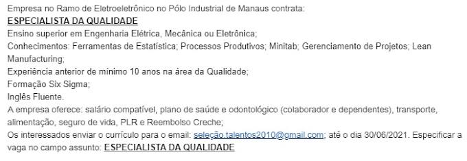 EMPRESA NO PÓLO INDUSTRIAL NO RAMO DE ELETROELETÔNICO SELECIONA: