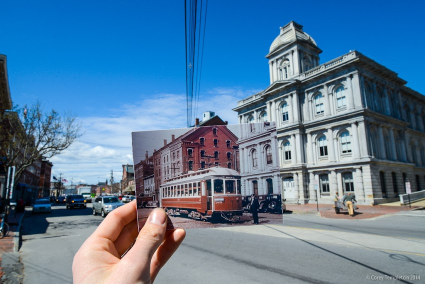 Portland, Maine USA May 2014 photo by Corey Templeton of streetcar trolley on Commercial Street in the Old Port in front of the US Custom House.