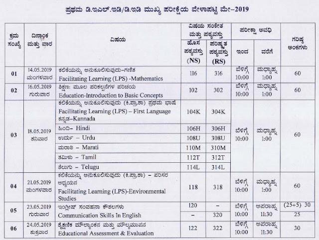 Karnataka D.El.Ed/ D.Ed 1st year Exam Time Table May 2019