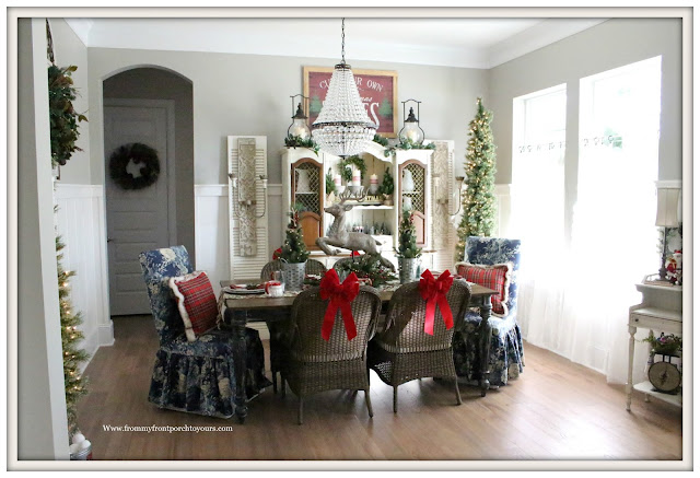 French Country Farmhouse Christmas Dining Room-Mia Pottery Barn Chandelier-From My Front Porch To Yours