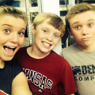 Joy-Anna with brother, Justin and Jason at the gym in October 2016