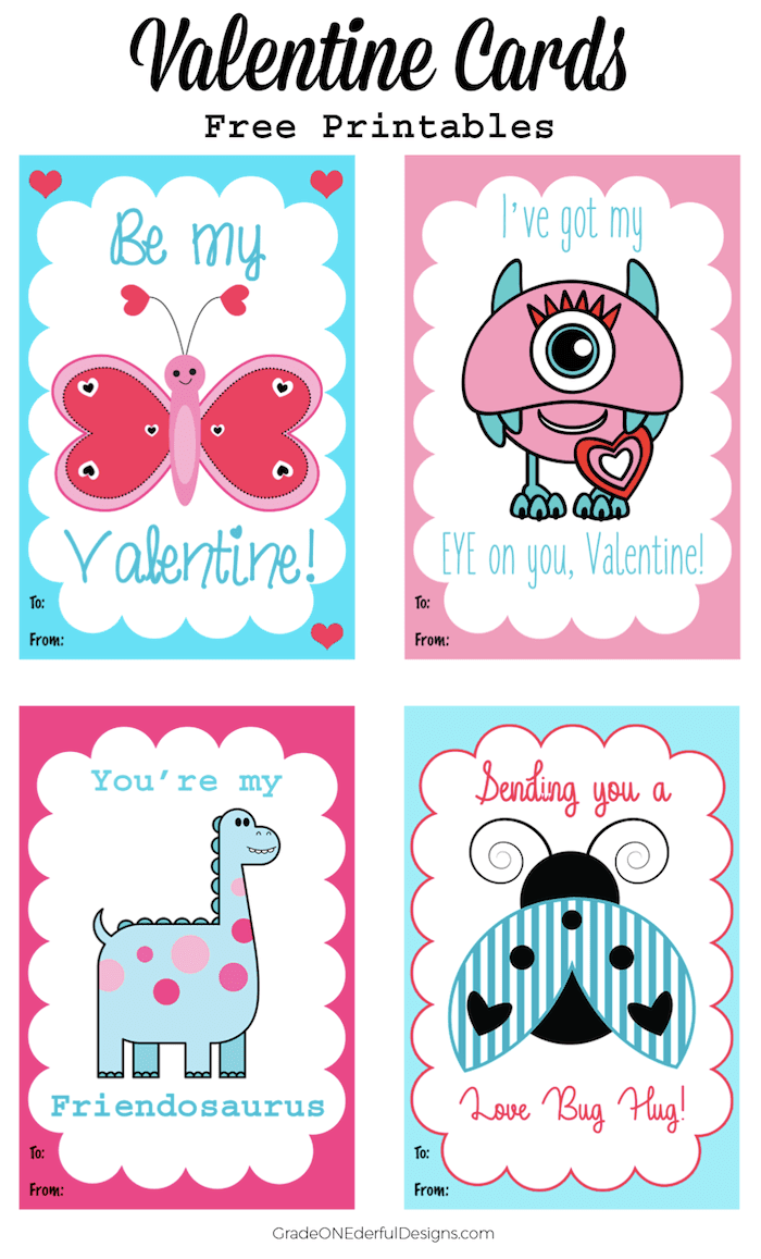Valentine Cards for Kids: Free Printables by Grade ONEderful Designs