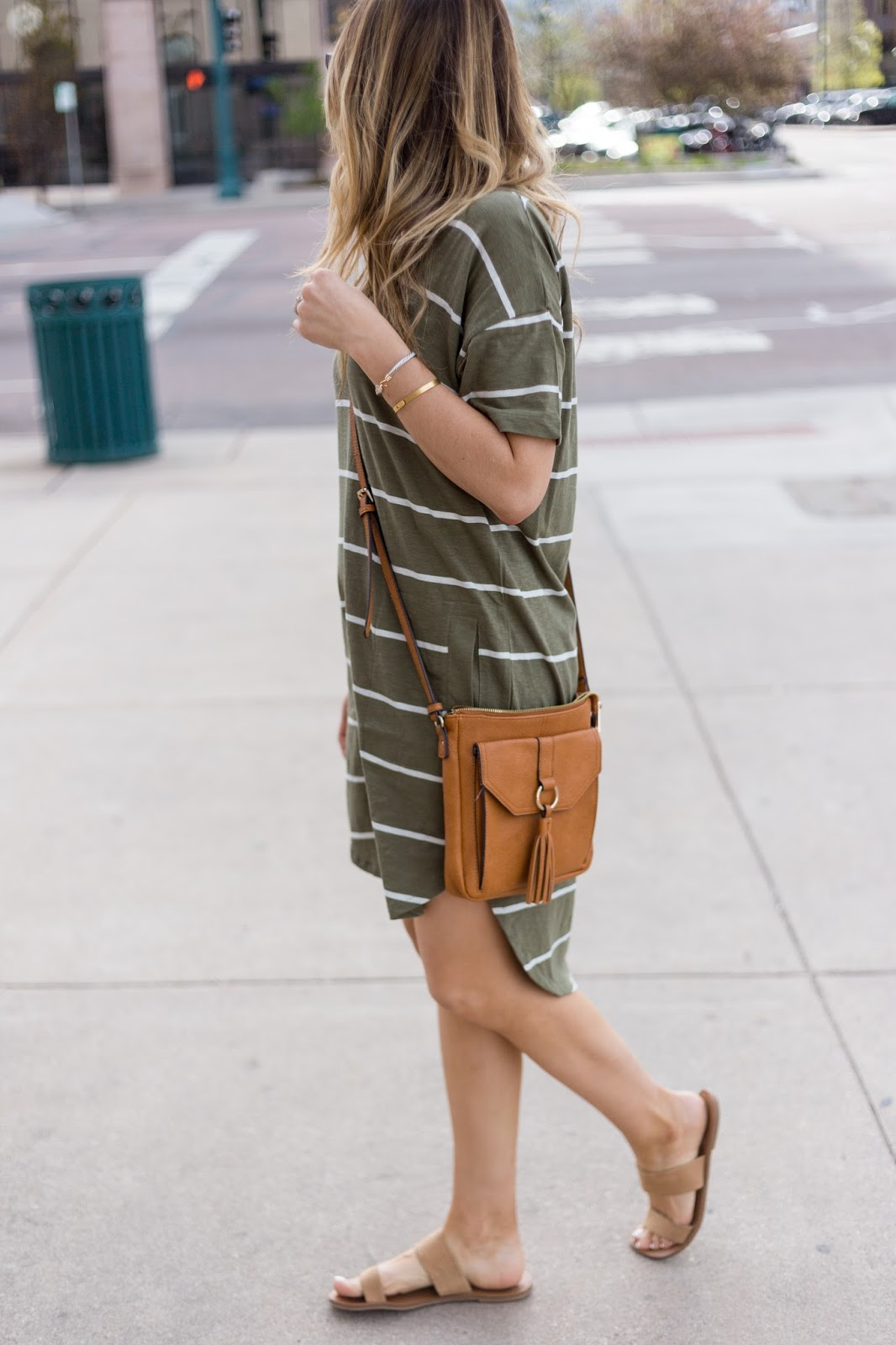 Love this fitted striped shirt dress!