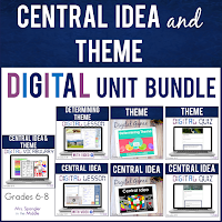 Middle School students will LEARN, PRACTICE and be ASSESSED for determining the central idea in any nonfiction text AND the theme in any fiction text DIGITALLY!