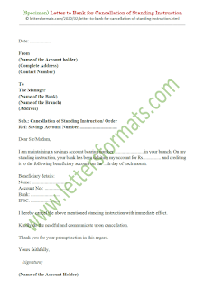 sample letter to bank to cancel standing instruction