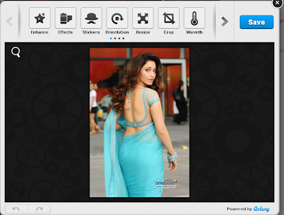 Edit image in Aviary - Tamanna Blue Saree Rebel Movie