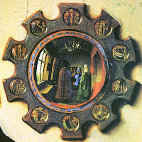 Jan van Eyck's the Arnolfini Portrait's convex mirror decorated with the ornaments of scenes from the Passion of Christ