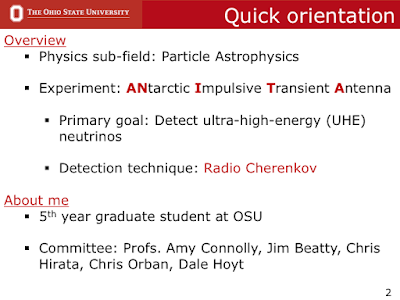 quick orientation slide from defense talk introducing the experiment I will talk, detection technique used, who am I and names of my committee members