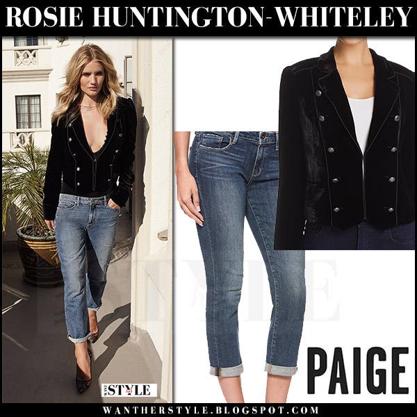 Rosie Huntington-Whiteley in black velvet jacket and cropped jeans Paige Fall 2017 campaign what she wore