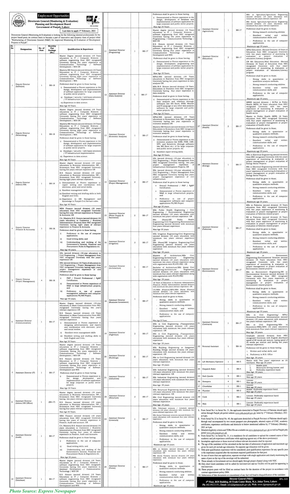 Planning and Development Board Govt of Punjab Jobs January 2021 Apply Online