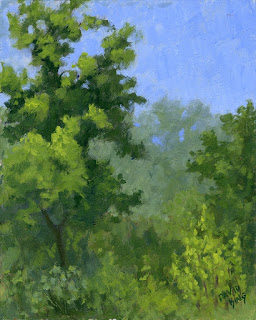 landscape painting spring green nature tree foliage
