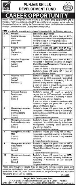 punjab-skills-development-fund- psdf-jobs-2020-latest-advertisement-
