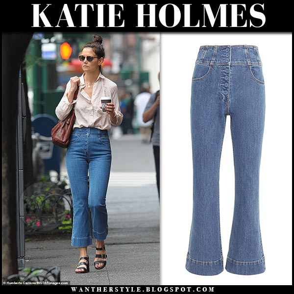 Katie Holmes in high rise cropped flared ulla johnson ellis jeans. Celebrity street fashion june 17