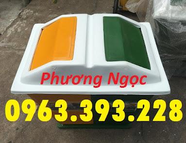 Thùng rác nhựa composite, thùng rác 2 ngăn, thùng phân loại rác TR2N2