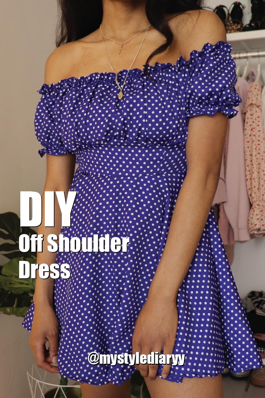 DIY polka dot off the shoulder dress final results