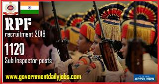 RPF SI recruitment 2018 Latest 1120 Sub Inspector vacancy- Apply Online
