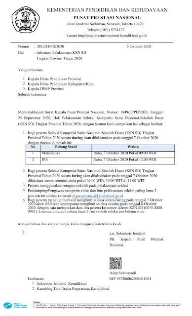 surat edaran jadwal pelaksanaan ksn sd tingkat provinsi tahun 2020 pdf tomatalikuang.com