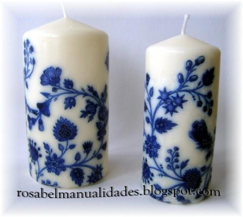 o unas velas decoradas tambin con servilletas de papel - Velas Decoradas