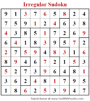 Answer of Irregular Sudoku Puzzle (Fun With Sudoku #279)