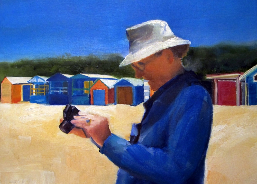 uncle barry at the beach painting by susan wellington