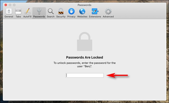 safari password locked