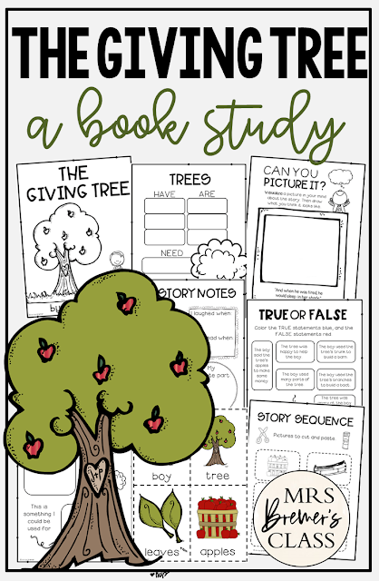 The Giving Tree book study activities unit with Common Core aligned literacy companion activities for Kindergarten and First Grade