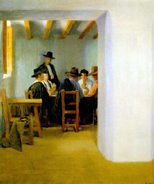 Jugadores de Cartas, Laureano Barrau Buñol, Pintor Catalán, Pintor español, Cuadros de Laureano Barrau Buñol